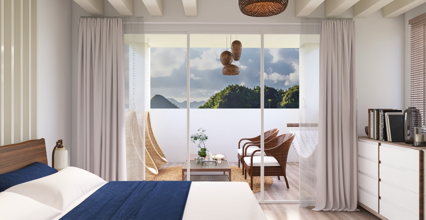 Coastal Bedroom Interior Design Render