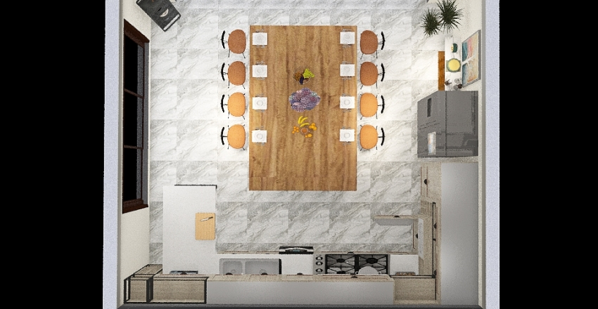 Kitchen Floor plan Interior Design Render