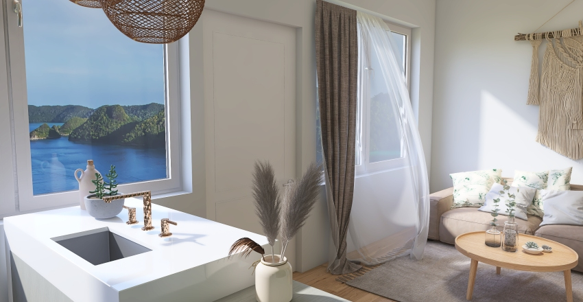 boho beach tiny house. Interior Design Render