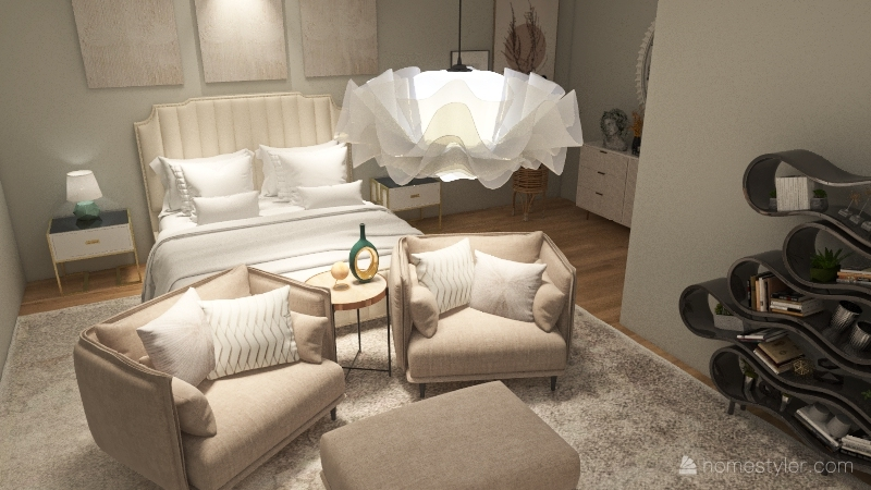 Neutral Master Bedroom Suite Interior Design Render