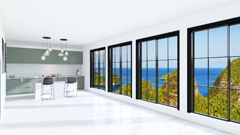 House with lots of windows Interior Design Render