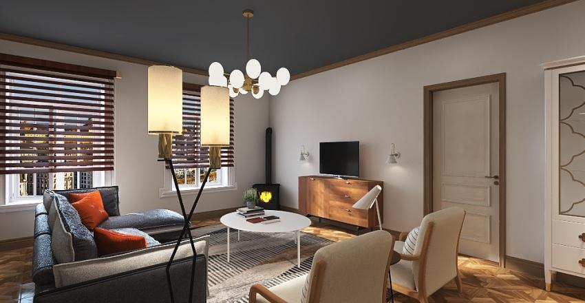 retro apartment Interior Design Render