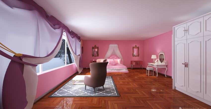 pink princess room Interior Design Render