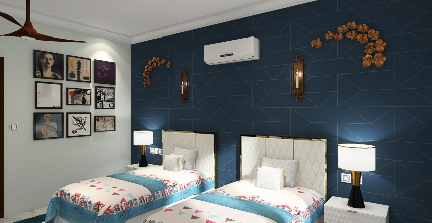 3BHK BUNGLOW Interior Design Render