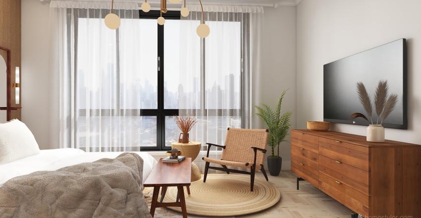 neutral modern/ scandinavian bedroom Interior Design Render