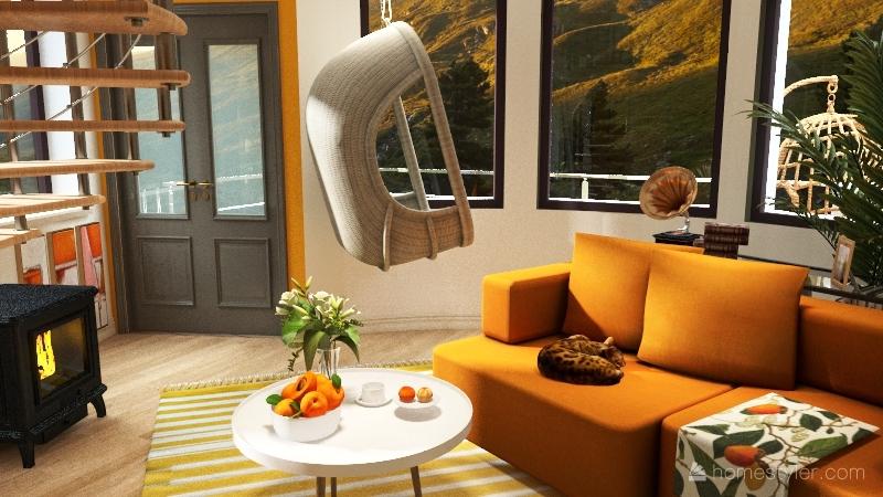 Loft + Bedroom Interior Design Render