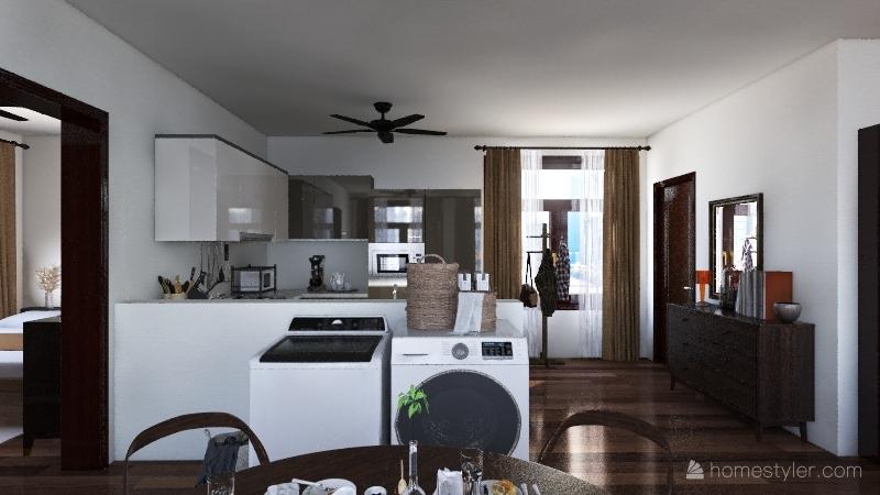 one bedroom, neutral tone house Interior Design Render