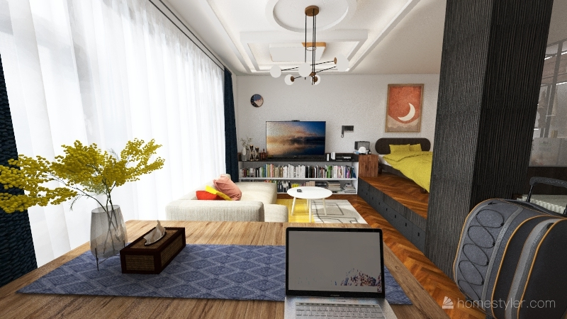 studio apartment C Interior Design Render