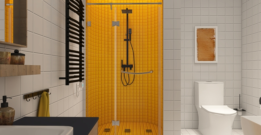 Studio in yellow Interior Design Render