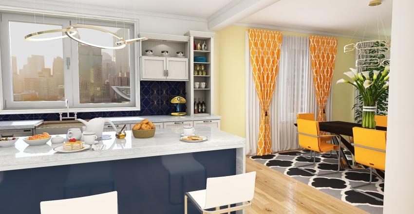 City Family Penthouse Interior Design Render