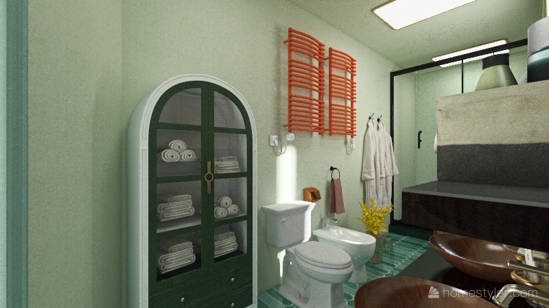 colorful one bedroom Interior Design Render