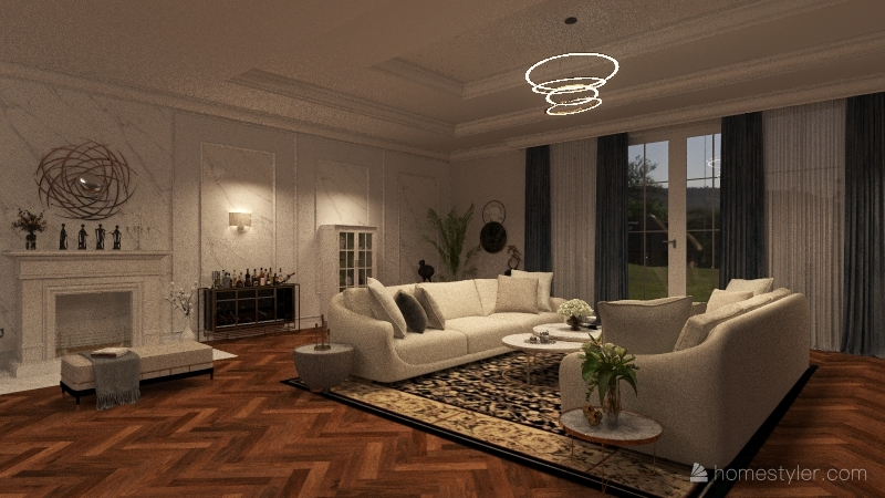 Living & Dining room  (France Design) Interior Design Render