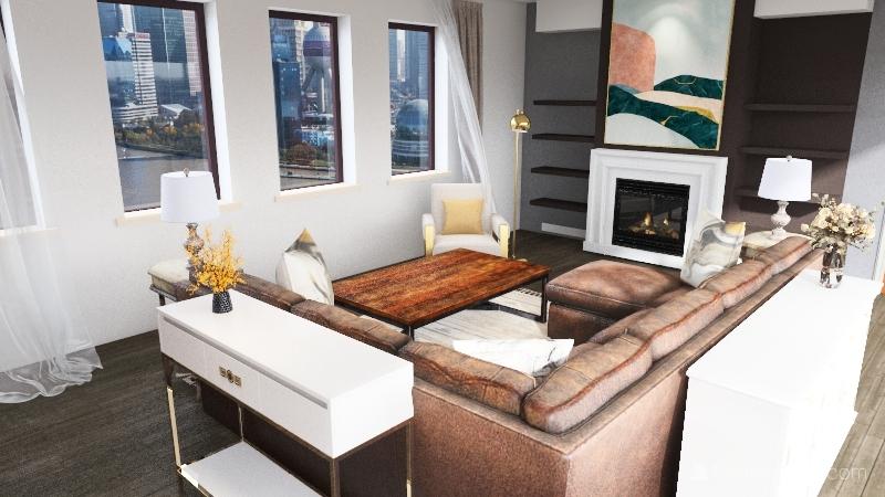Transitional city living room Interior Design Render