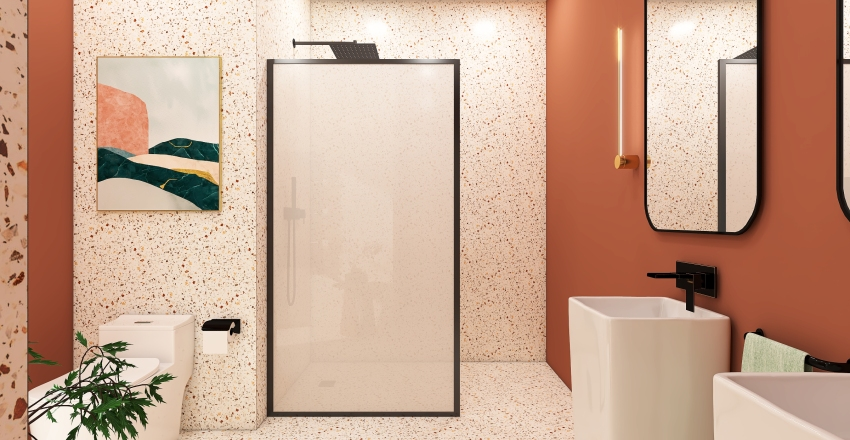 Terrazzo bathroom Interior Design Render