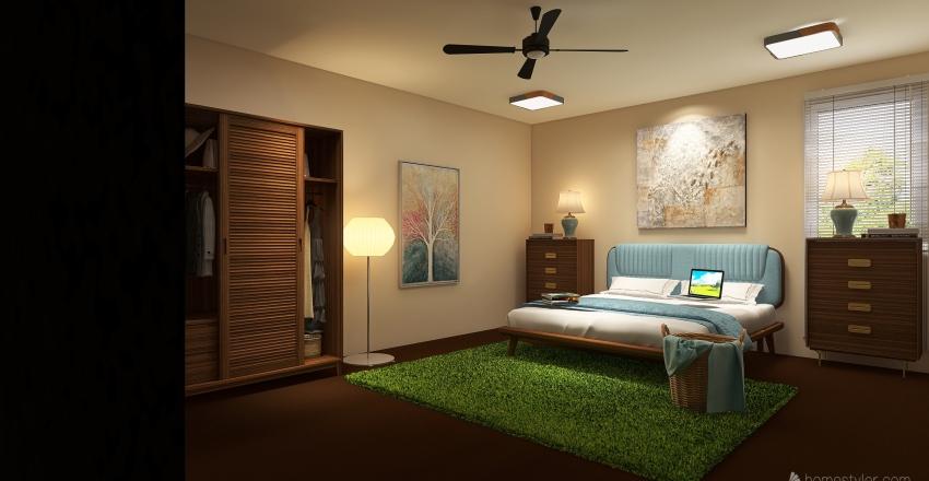 Natural Bedroom Interior Design Render