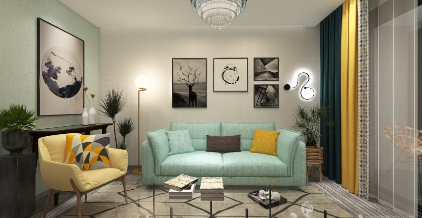 Pastel homey living area Interior Design Render