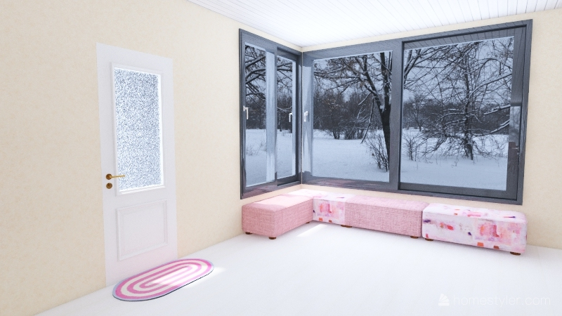 Pink Tea Cafe Interior Design Render