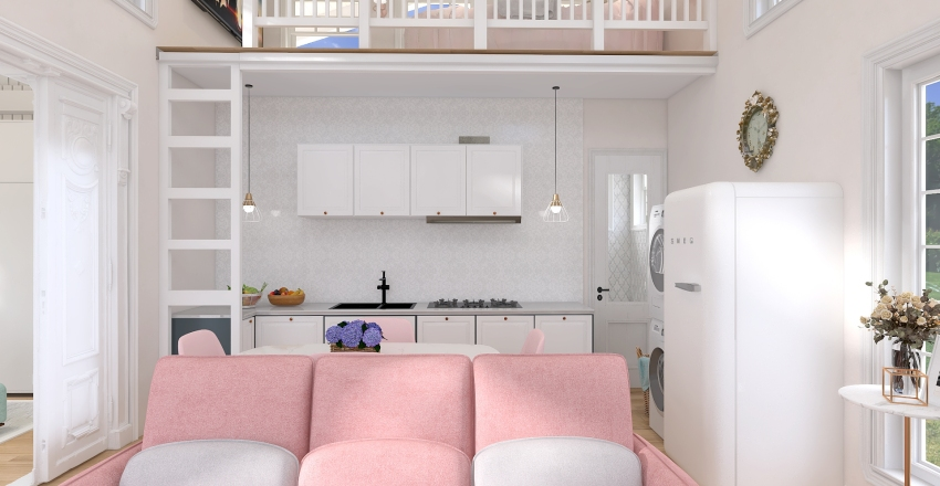 Tiny Cottage House Living Interior Design Render