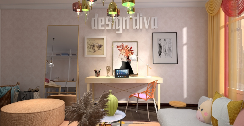 City apartment inspired by Marigold Interior Design Render