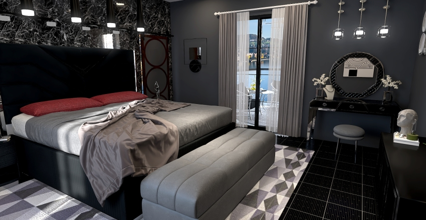 The Black Bedroom Interior Design Render