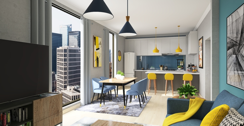 COLOR COMBO #1-Blue and Yellow Interior Design Render