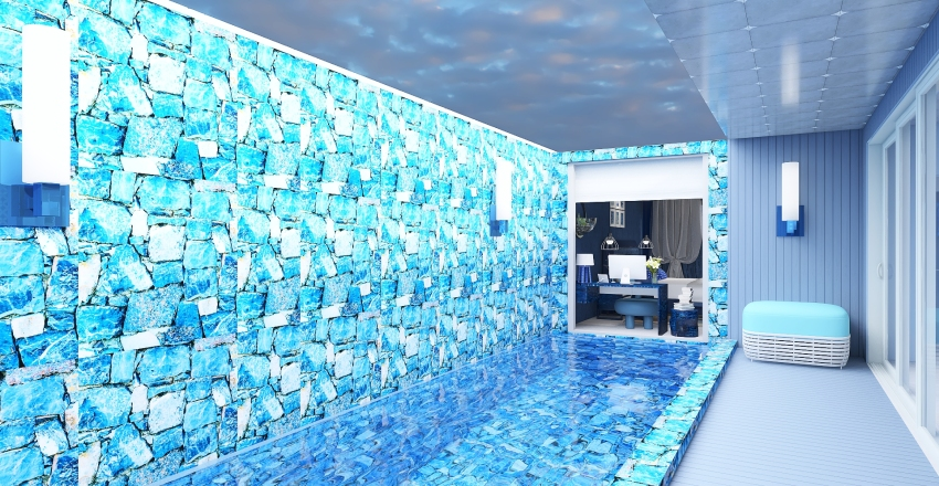 A blue home by the sea Interior Design Render