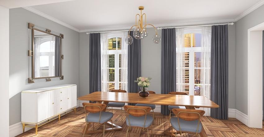 retro parisian apartment Interior Design Render