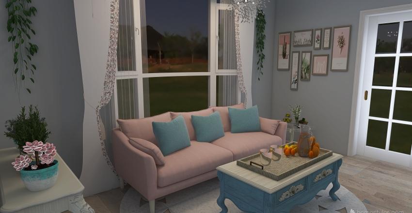 Shabby Chic Living Room Interior Design Render
