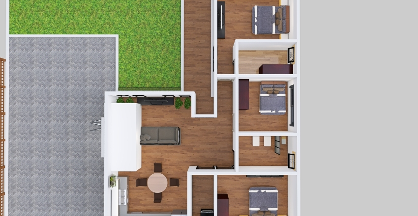 casa en L Interior Design Render