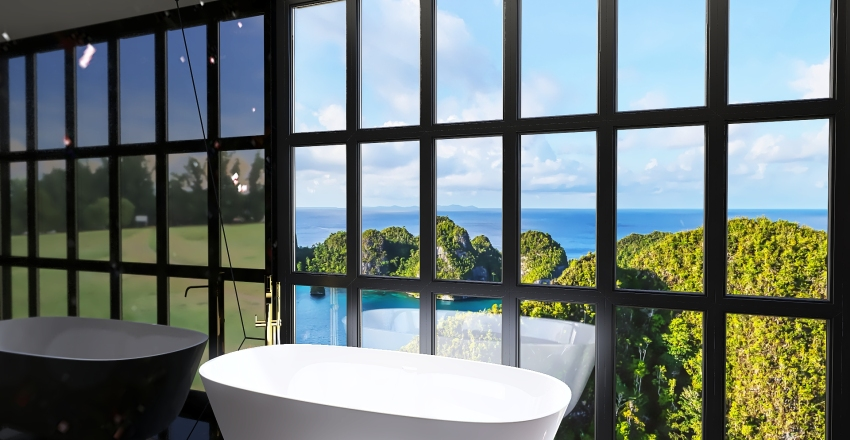 Baño Negro Interior Design Render