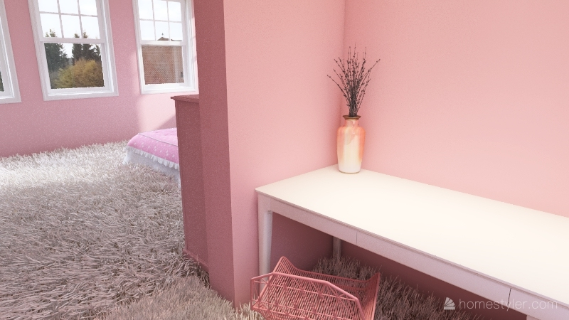 pink and white home Interior Design Render