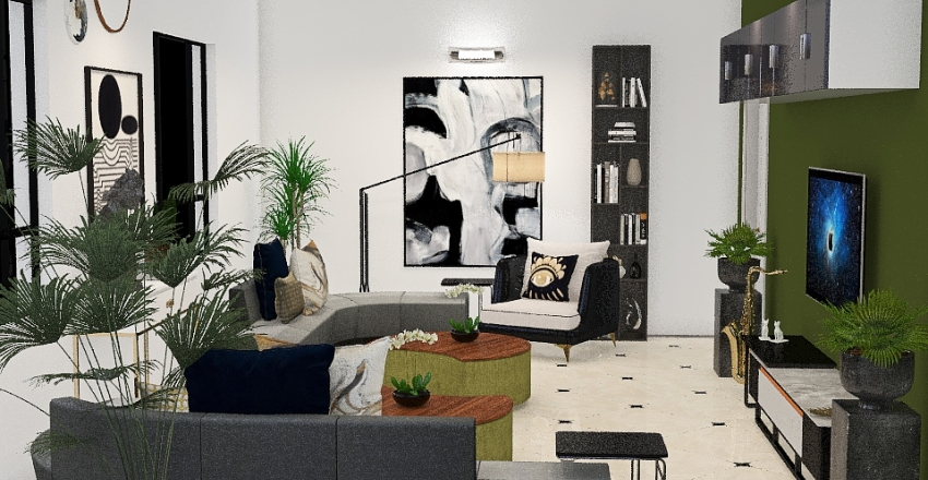 Green Living Interior Design Render
