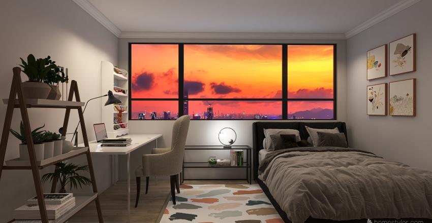 pretty bed Interior Design Render