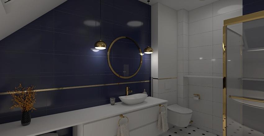 Łazienka granatowo-biała Interior Design Render