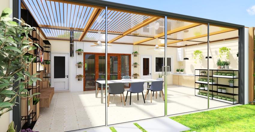 Quincho - Circulación Interior - Terraza Interior Design Render