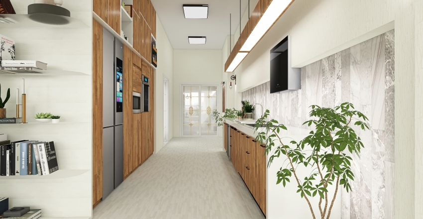 WWG - White/Wood and Green Interior Design Render