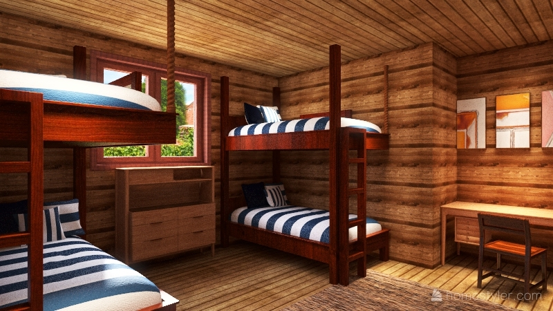 Girl's Cabin At Camp Interior Design Render