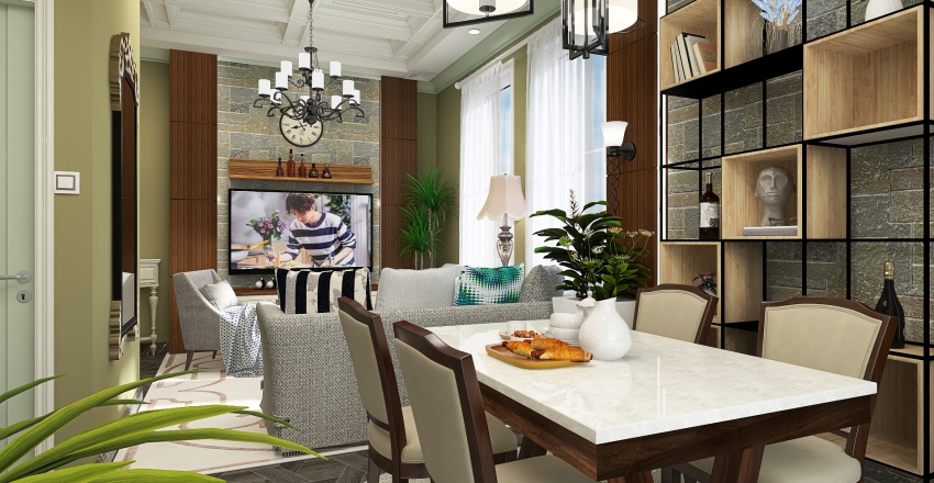 Transitional Studio Unit Interior Design Render
