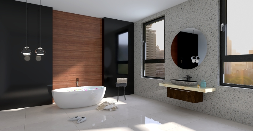 Bathroom high rise building Interior Design Render