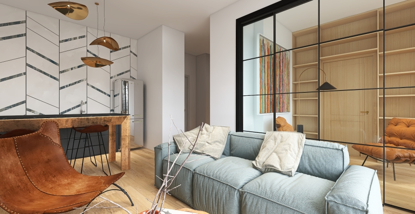 calm in the city Interior Design Render