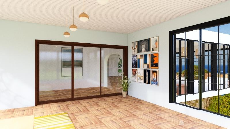 beach house boho Interior Design Render