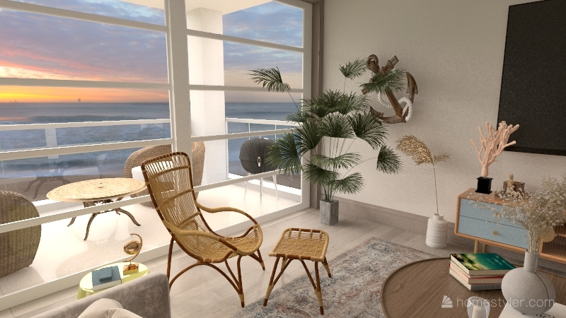 beach kitchen living room Interior Design Render