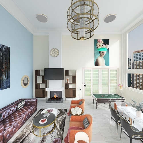 Hassan Great Room Floor plan Interior Design Render