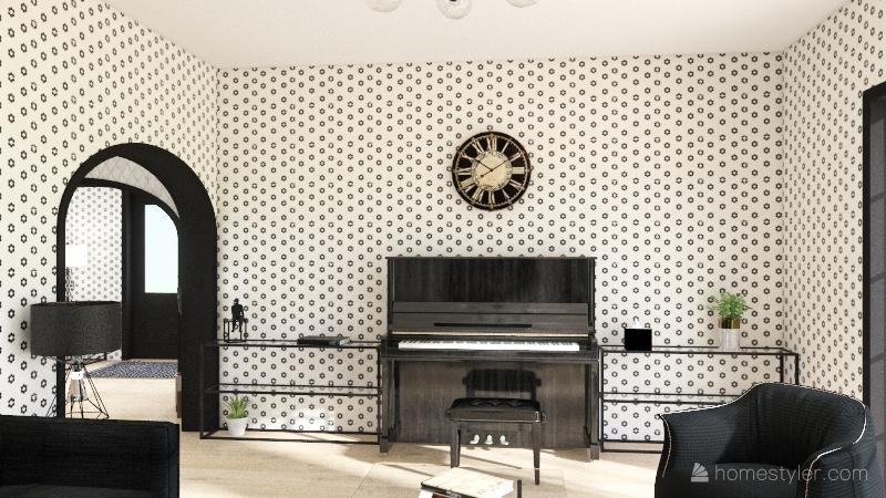 black white classic house Interior Design Render