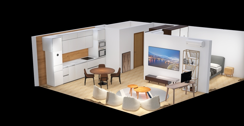 Apartments 52m with 1 bedroom, Moscow v1.5 Interior Design Render