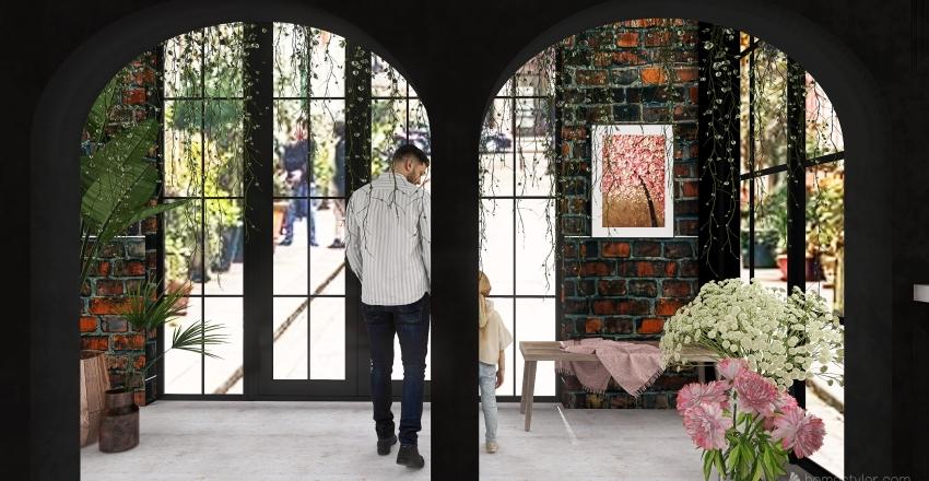 Florist Cafe Interior Design Render