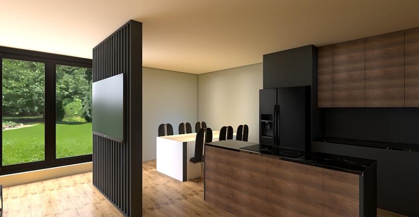 nowy projekt salon i kuchnia Interior Design Render