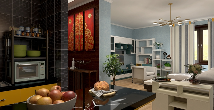 House in the Suburban Interior Design Render