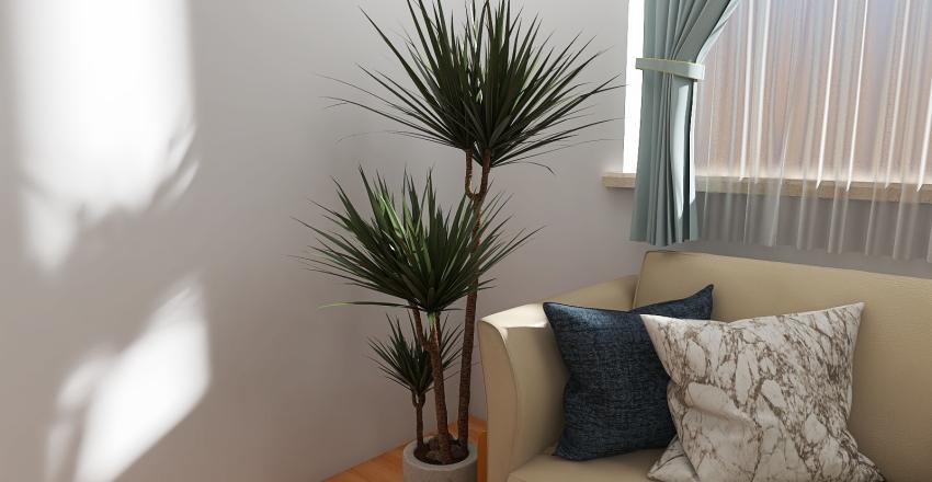 White living room +plants Interior Design Render