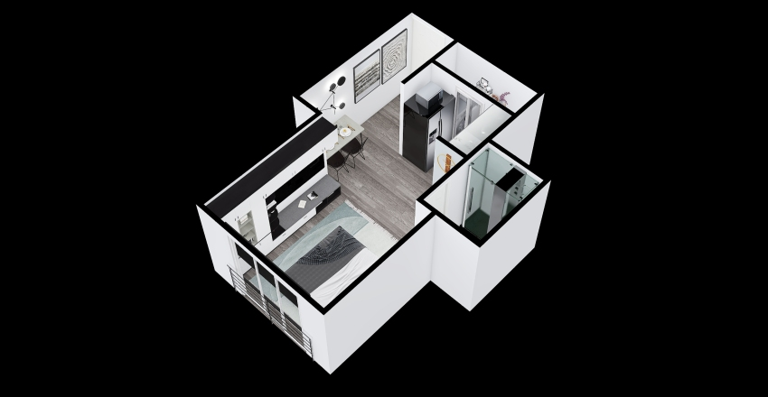 Ámbar - Tipo 2A - Apartaestudio Interior Design Render